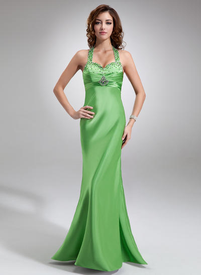 Charmeuse Sleeveless Empire Prom Dresses Halter Ruffle Beading Sequins Floor-Length (018004842)