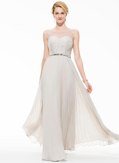 Chiffon Sleeveless A-Line/Princess Prom Dresses Scoop Neck Beading Sequins Floor-Length (018075895)
