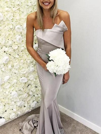 Satin Sleeveless Trumpet/Mermaid Bridesmaid Dresses Scalloped Neck Ruffle Sweep Train (007219273)