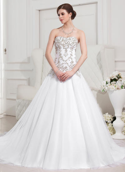 Magnificent Royal Train Ball-Gown Wedding Dresses Sweetheart Tulle Sleeveless (002196876)