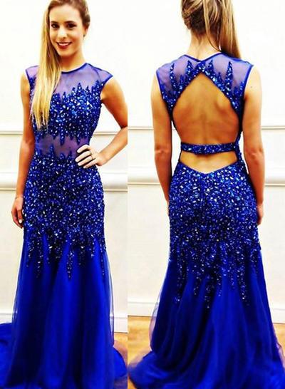 Tulle Sleeveless Trumpet/Mermaid Prom Dresses Scoop Neck Beading Sweep Train (018146540)
