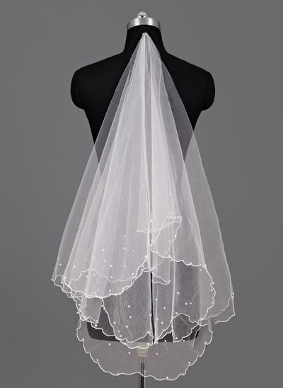Walzer Braut Schleier Tüll Einschichtig Ovale mit Wellenkante Brautschleier (006151638)