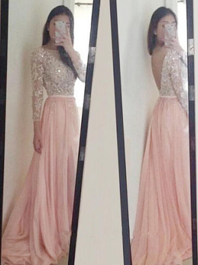 Long Sleeves A-Line/Princess Prom Dresses Scoop Neck Appliques Lace Sequins Sweep Train (018212222)