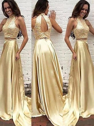 Charmeuse Sleeveless A-Line/Princess Prom Dresses High Neck Beading Sweep Train (018210244)