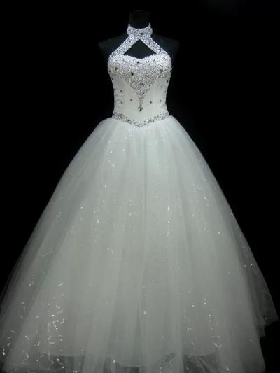 Elegant Floor-Length Ball-Gown Wedding Dresses Halter Tulle Sleeveless (002147807)
