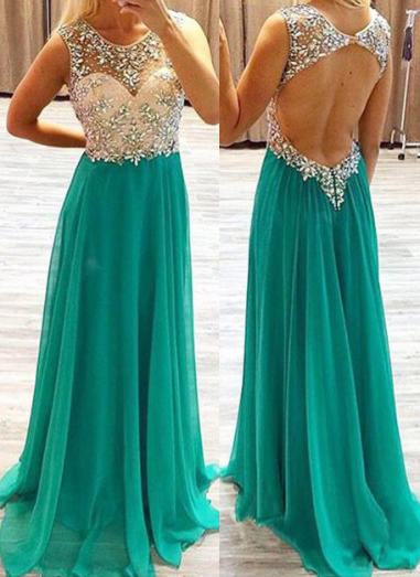 Chiffon Sleeveless A-Line/Princess Prom Dresses Scoop Neck Beading Sweep Train (018144670)