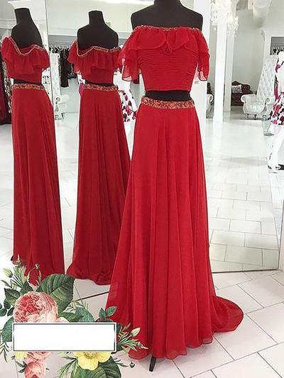A-Line/Princess Off-the-Shoulder Chiffon Sleeveless Floor-Length Beading Evening Dresses (017212112)