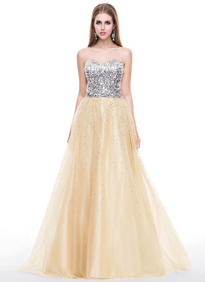 Tulle Sequined Sleeveless A-Line/Princess Prom Dresses Sweetheart Beading Sweep Train (018058780)