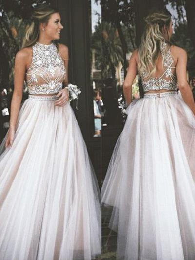 Chiffon Sleeveless Ball-Gown Prom Dresses High Neck Beading Floor-Length (018145384)