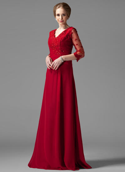 A-Line/Princess V-neck Chiffon 3/4 Sleeves Floor-Length Ruffle Lace Beading Mother of the Bride Dresses (008004443)