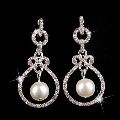 Earrings Alloy/Rhinestones Pierced Ladies' Beautiful Wedding & Party Jewelry (011167290)
