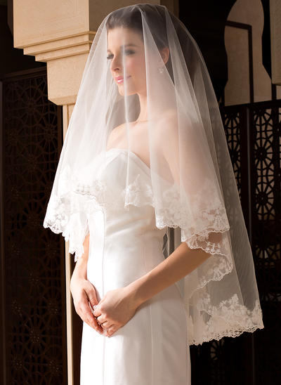 Fingertip Bridal Veils Tulle One-tier Classic With Lace Applique Edge Wedding Veils (006151505)