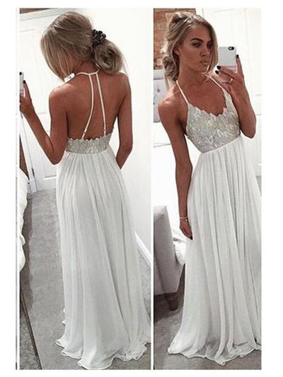 Chiffon Sleeveless A-Line/Princess Prom Dresses V-neck Sequins Floor-Length (018216531)