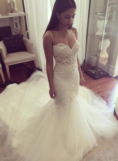 Fashion Cathedral Train Trumpet/Mermaid Wedding Dresses Sweetheart Tulle Sleeveless (002210831)