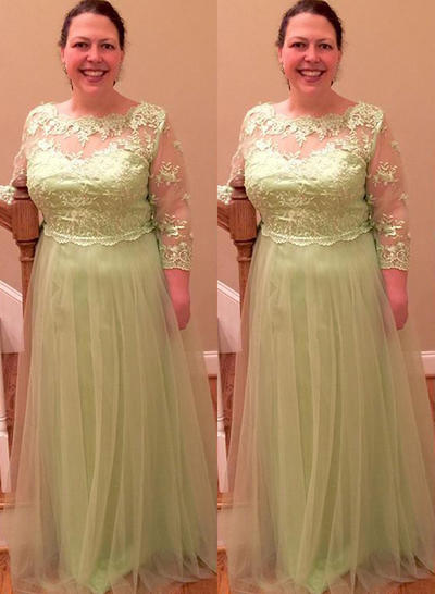 A-Line/Princess Scoop Neck Tulle Long Sleeves Floor-Length Appliques Lace Mother of the Bride Dresses (008212797)