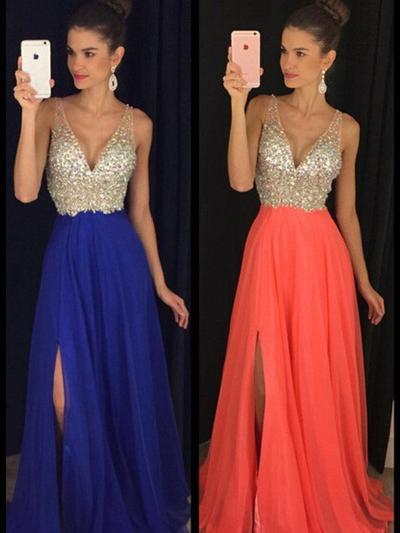 Chiffon Sleeveless A-Line/Princess Prom Dresses V-neck Beading Floor-Length (018210234)