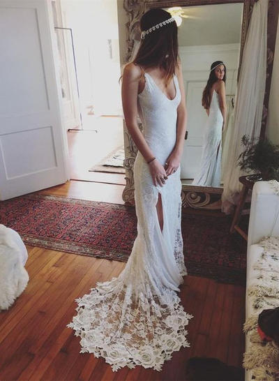 Simple Court Train Sheath/Column Wedding Dresses Deep V Neck Lace (002210850)