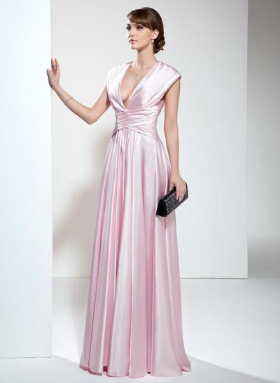 A-Linie/Princess-Linie V-Ausschnitt Charmeuse Ärmellos Bodenlang Rüschen Kleider für die Brautmutter (008006190)
