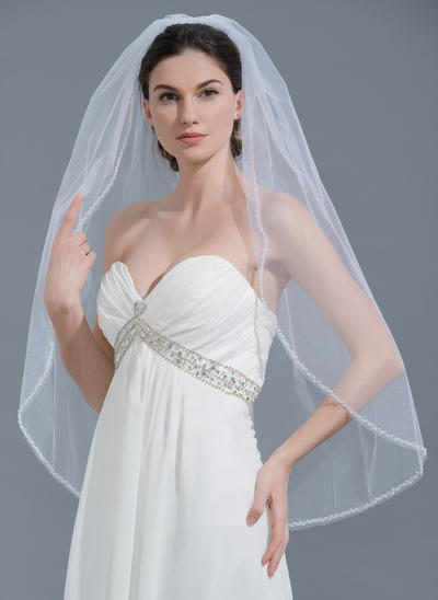 Fingertip Bridal Veils Tulle One-tier Classic With Beaded Edge Wedding Veils (006152124)