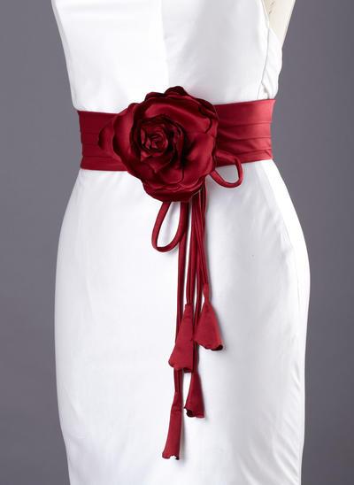 Flower Girl Satin With Flower Sash Elegant Sashes & Belts (015190949)