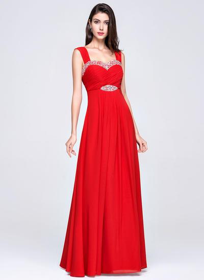 Empire Sweetheart Chiffon Sleeveless Floor-Length Ruffle Beading Evening Dresses (017017358)