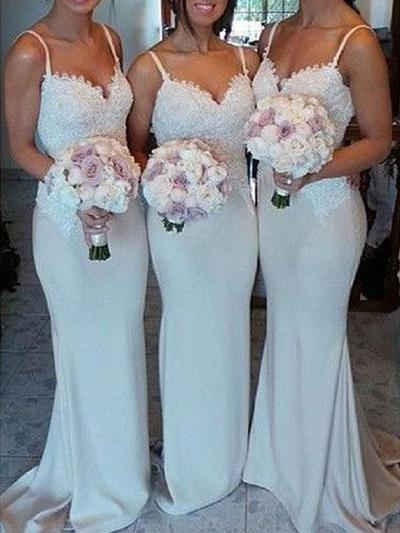 Lace Jersey Sleeveless Trumpet/Mermaid Bridesmaid Dresses Sweetheart Sweep Train (007144960)