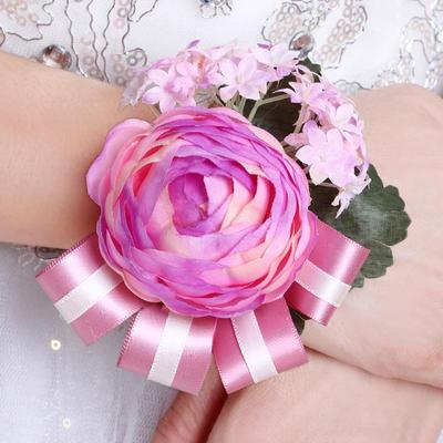 Wrist Corsage Round Wedding Silk (Sold in a single piece) Wedding Flowers (123190498)