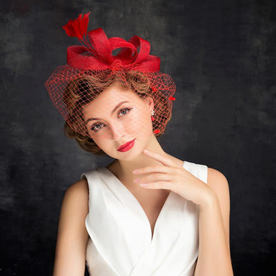 Feather/Net Yarn With Feather/Tulle Fascinators Charming Ladies' Hats (196194200)