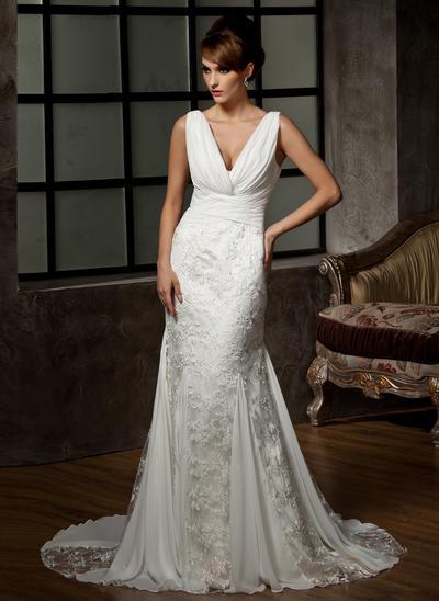 Magnificent Court Train Trumpet/Mermaid Wedding Dresses Sweetheart Chiffon Lace Sleeveless (002000583)