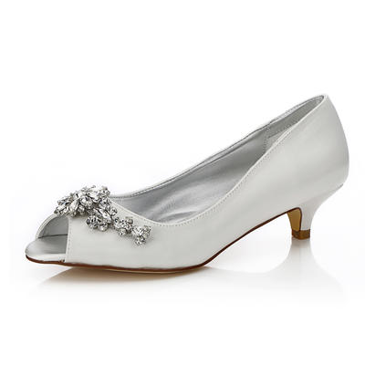 Women's Peep Toe Dyeable Shoes Low Heel Satin With Rhinestone Wedding Shoes (047205937)