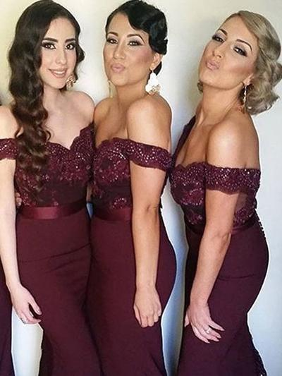 Satin Lace Sleeveless Trumpet/Mermaid Bridesmaid Dresses Off-the-Shoulder Beading Sweep Train (007144959)