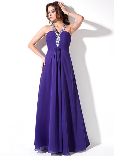Chiffon Sleeveless A-Line/Princess Prom Dresses V-neck Ruffle Beading Floor-Length (018004819)