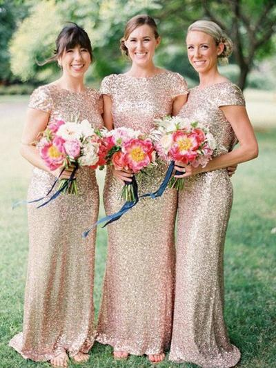 Sequined Short Sleeves Sheath/Column Bridesmaid Dresses Scoop Neck Floor-Length (007211575)