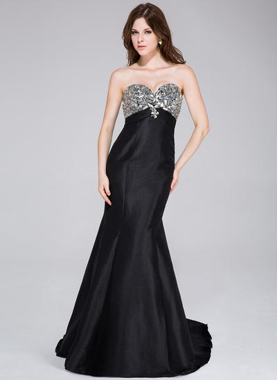 Taffeta Sleeveless Trumpet/Mermaid Prom Dresses Sweetheart Beading Sweep Train (018034502)