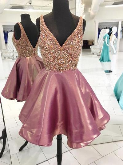 A-Line/Princess V-neck Sleeveless Short/Mini Beading Homecoming Dresses (022216308)