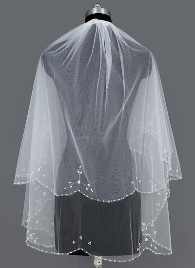 Ellenbogen Braut Schleier Tüll Zweischichtig Kaskade mit Perlenbesetzter Saum Brautschleier (006151088)