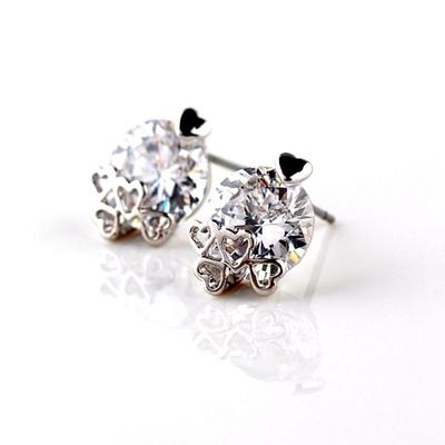 "Earrings Zircon/Platinum Plated Pierced Classic 0.47""(Approx.1.2cm) Wedding & Party Jewelry (011164821)"