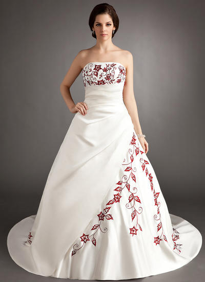 Stunning Chapel Train A-Line/Princess Wedding Dresses Strapless Satin Sleeveless (002196823)