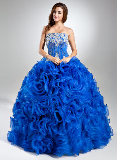Organza Sleeveless Ball-Gown Prom Dresses Strapless Lace Beading Sequins Cascading Ruffles Floor-Length (018112904)