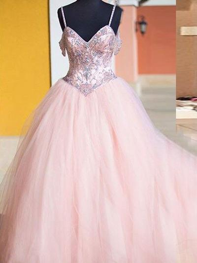 Tulle Sleeveless Ball-Gown Prom Dresses V-neck Beading Floor-Length (018210385)