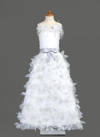 Newest Floor-length A-Line/Princess Flower Girl Dresses Organza/Charmeuse Sleeveless (010005781)