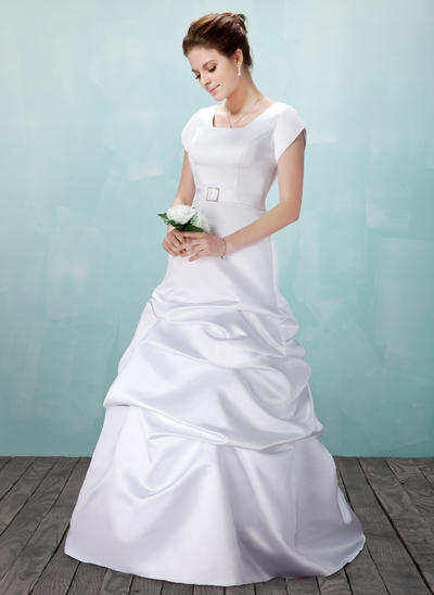 Newest Floor-Length A-Line/Princess Wedding Dresses Square Satin Short Sleeves (002001633)