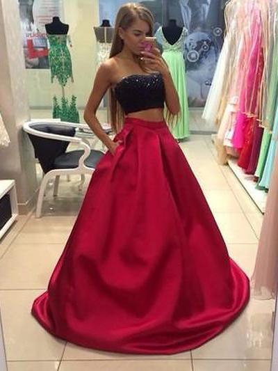 Satin Sleeveless A-Line/Princess Prom Dresses Strapless Floor-Length (018210377)