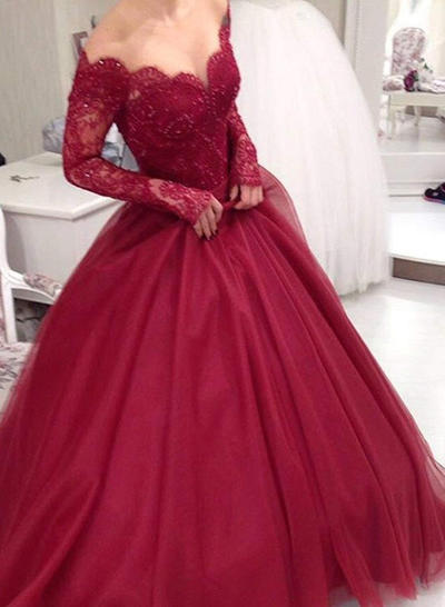 Tulle Long Sleeves Ball-Gown Prom Dresses V-neck Lace Floor-Length (018219265)