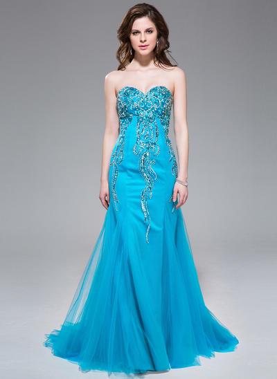 Tulle Sleeveless Trumpet/Mermaid Prom Dresses Sweetheart Beading Sequins Sweep Train (018041024)