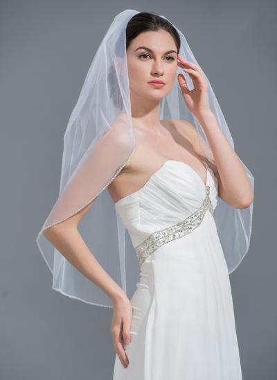 Ellenbogen Braut Schleier Tüll Einschichtig Ovale mit Perlenbesetzter Saum Brautschleier (006152215)