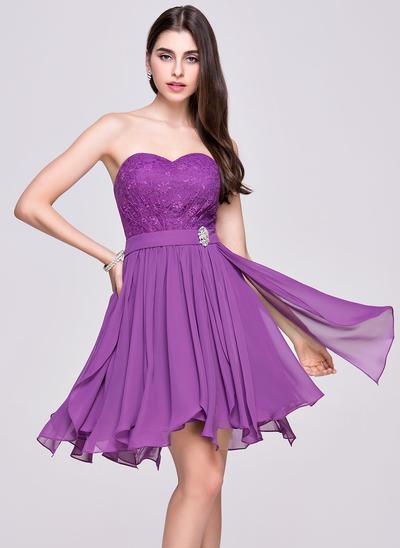 A-Line/Princess Sweetheart Chiffon Lace Sleeveless Asymmetrical Beading Cascading Ruffles Homecoming Dresses (022068032)
