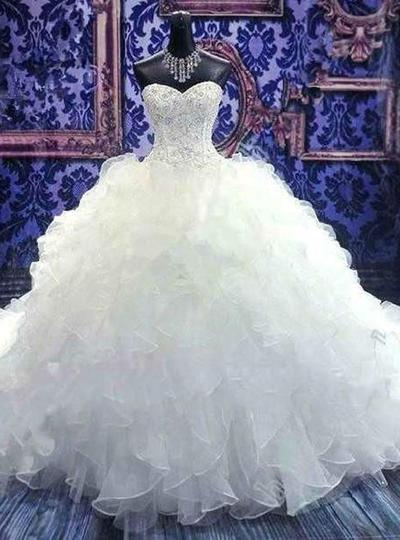 Modern Floor-Length Chapel Train Ball-Gown Wedding Dresses Sweetheart Organza Sleeveless (002148034)