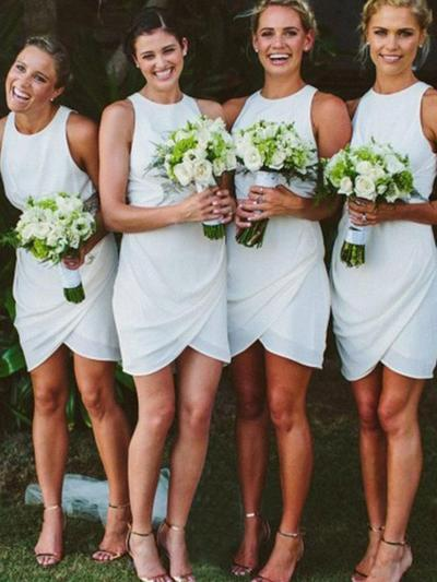 Chiffon Sleeveless Sheath/Column Bridesmaid Dresses Scoop Neck Ruffle Short/Mini (007145025)