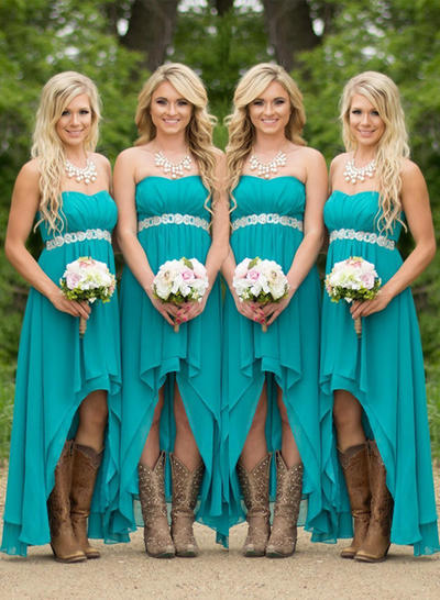 Chiffon Sleeveless A-Line/Princess Bridesmaid Dresses Sweetheart Ruffle Asymmetrical (007211569)